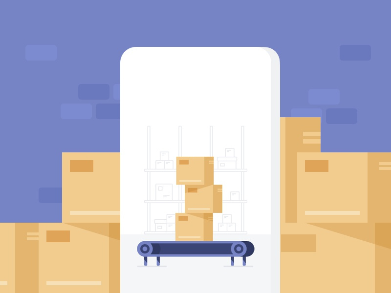 Who let the box out? stacks boxes splash screen illustration warehouse