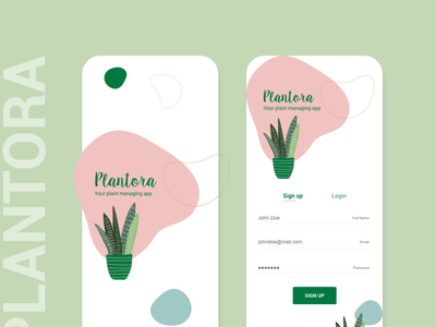 Plantora mobile app design ux design illustration landing page login page sign up ui mobile app plant app