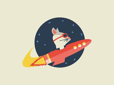 New logo illustrator rocket space logo cat