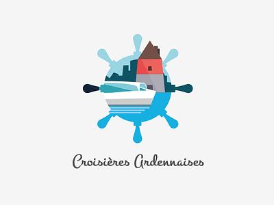 Croisières Ardennaises Logo cruise logo boat ardennes sea tour water city