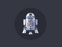 R2-D2 star wars r2d2 illustration flat robot bot android technology technologic blue