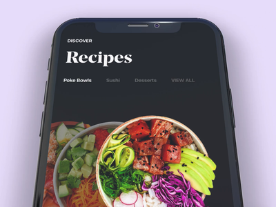 Explore Recipes movement color eat poke interface interaction iphone motion ux animation mobile ux  ui ux recipes