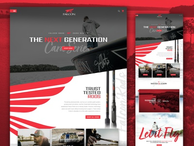 Falcon Rods Website Redesign fishing website falcon red fishing rods outdoor company fishing web design homepage website design outdoors branding