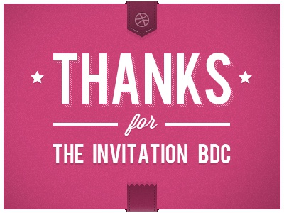 Thanks for the invitation! invite thanks dribbble pink typography type ribbon clean