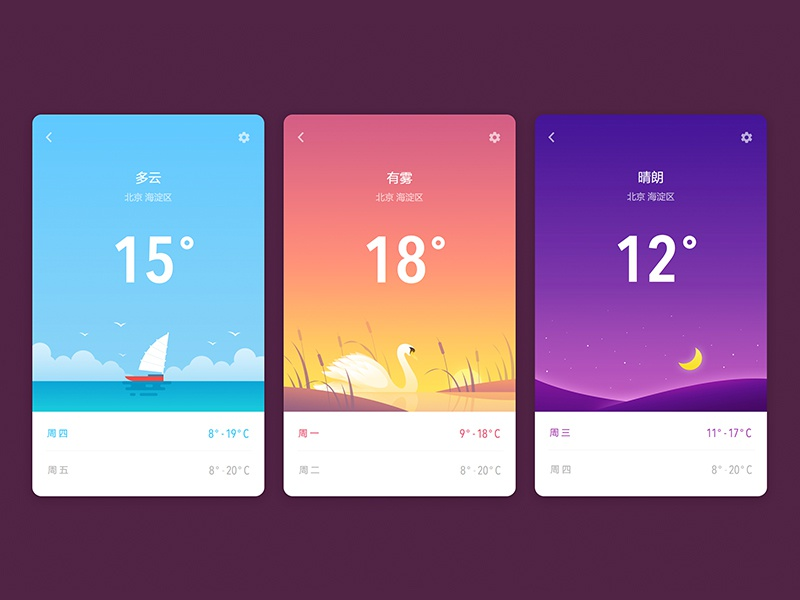 Weather App weather foggy cloudy sunny interface ui app color illustration