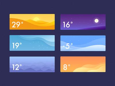 Weather snowy rainy night foggy cloudy sunny interface ui app widget illustration weather