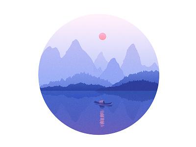 清晨 landscape boat sunrise mountain flat color illustration