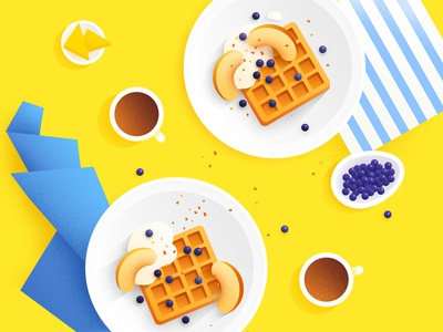 food illustration  blueberry peach brunch dessert colorful coffee breakfast lay flat illustration food