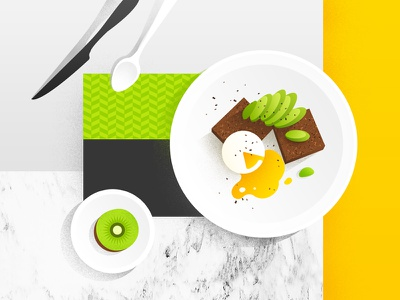 food illustration  avocado kiwifruit egg green brunch dessert colorful breakfast lay flat illustration food