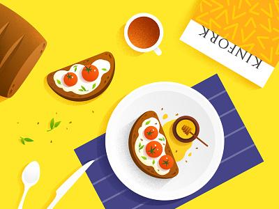 food illustration tomato honey kinfork bread brunch dessert coffee breakfast lay flat illustration food