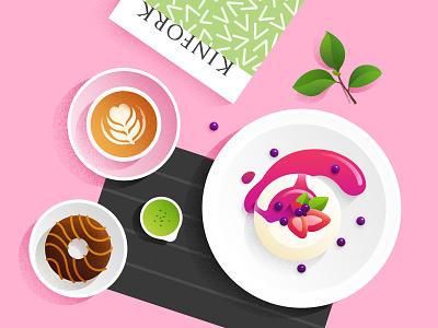 food illustration  donuts kinfork brunch dessert coffee breakfast lay flat illustration food
