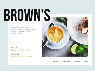 BROWN'S dessert restaurant interface website food coffee