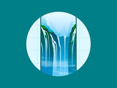 瀑 mountain water gradient flat illustration china waterfall