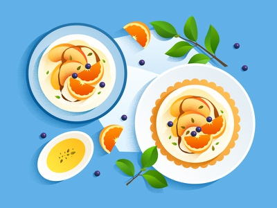 food illustration flat peach fruit orange leaf dessert brunch breakfast illustration food