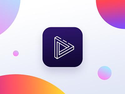 icon loop line circular camera video colorful color gradient icon