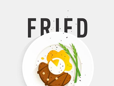 Fried Egg lunch brunch breakfast flat illustration food egg fried
