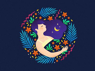 Nighty Night plant sleep colorful girl gradient flat illustration night