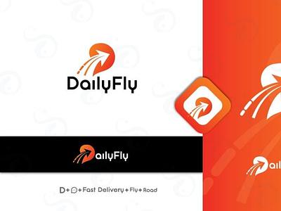 DailyFly youthful logistics service courier service creative logo modern vector design minimal logo brand branding beautiful creative