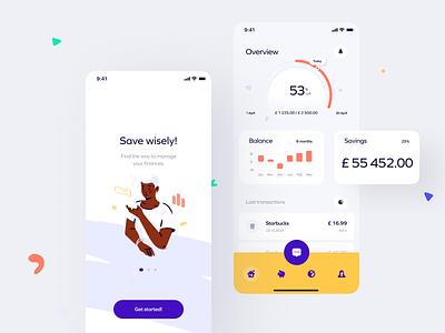 Save wisely! app charts ui design organic figma finance illustration