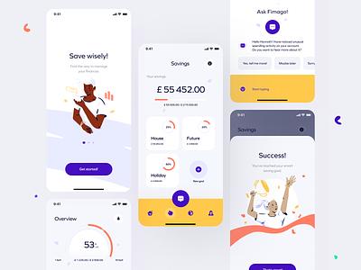 Reach your smart  saving goals app charts ui design organic finance illustration