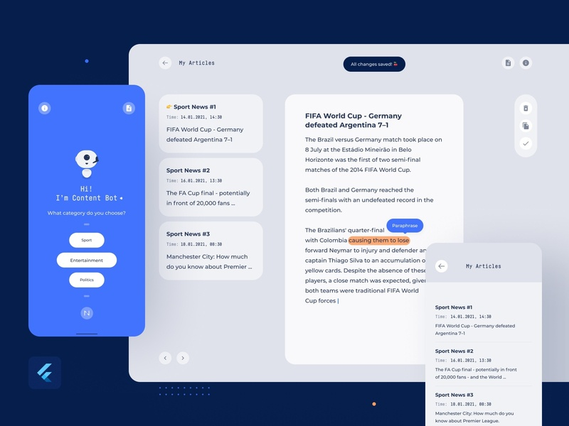 Content Bot - on every device! article app ui assistant chatbot content flutter google material design machine learning