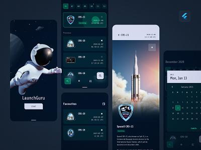 LaunchGuru - just landed! material design flutter ui design space app 3d