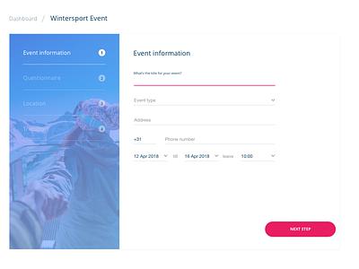 Events App platform wintersport wizard questionnaire events