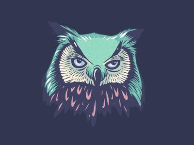 Owl Head Illustration vector art vector ipad procreate ipad pro art adobe fresco dark owls owl animals portrait ipad pro apoka artwork edouard artus illustration