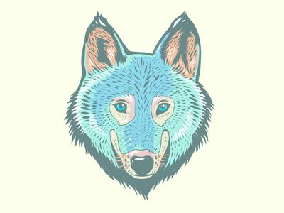 Wolf head Illustration vectorart vector blue adobe fresco light pastel wolf animals animal portrait ipad pro apoka artwork edouard artus illustration