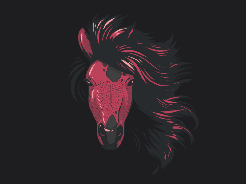 Horse head Illustration vector art adobe fresco red black horses horse vector animals ipad pro portrait apoka artwork edouard artus illustration