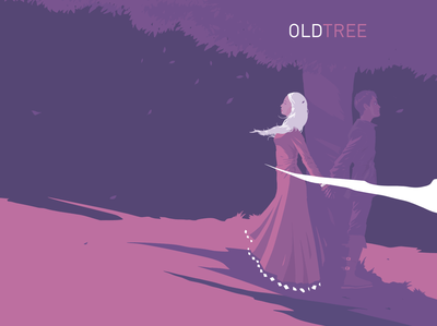 Cover Illustration for Old Tree novel. pink purple romance romantic characterdesign cover artwork cover design cover art adobe illustrator adobe fresco ipad pro apoka artwork edouard artus illustration