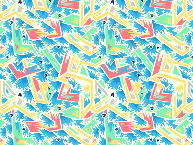 Pattern design #23 bright colorful plants red yellow blue colorfull surface design pattern design patterns pattern ipad pro adobe illustrator apoka artwork edouard artus