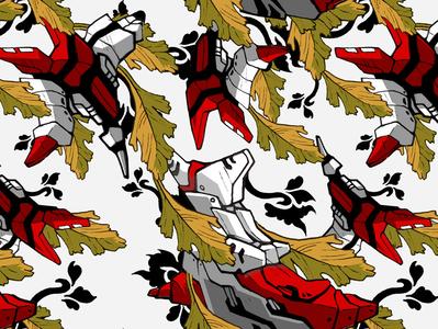 Floral and Mecha Wallpaper Pattern Design 01 Edouard Artus