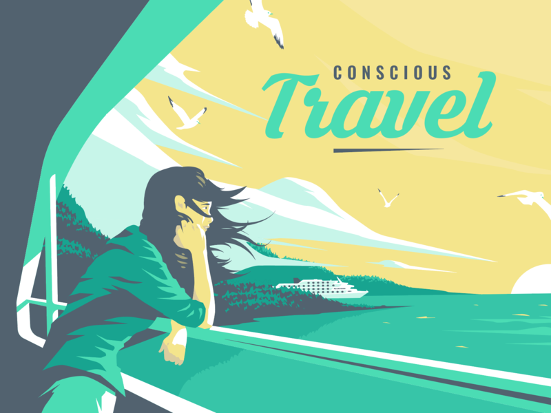 Travel illustration - Edouard Artus seagulls tour vacation sea leisure cruise boat seaside holiday tourism travel adobe illustrator apoka artwork edouard artus illustration