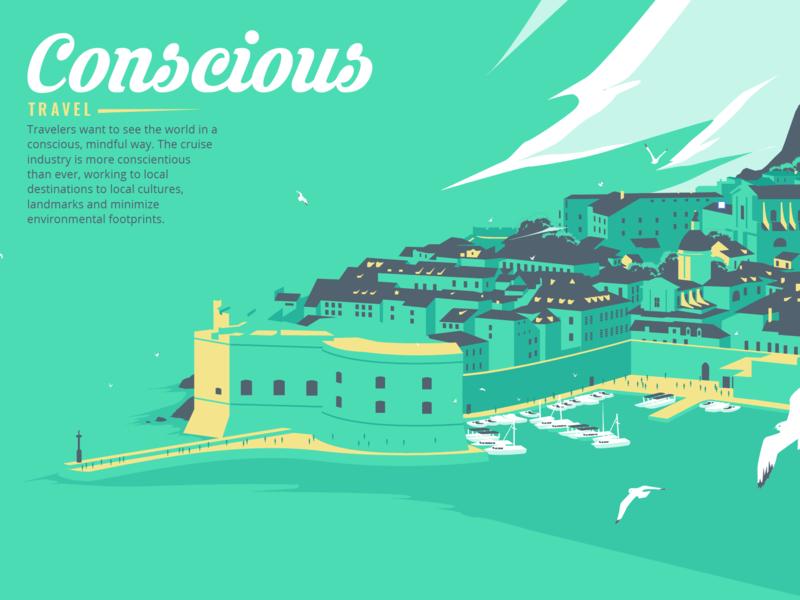 Travel Illustration seagulls village cruise tourism adobe illustrator apoka artwork edouard artus illustration