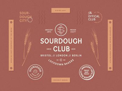 Sourdough Club brand branding design logodesign logo brand identity club lockdown branding bakery sourdough lockups stamps emblems badges crests