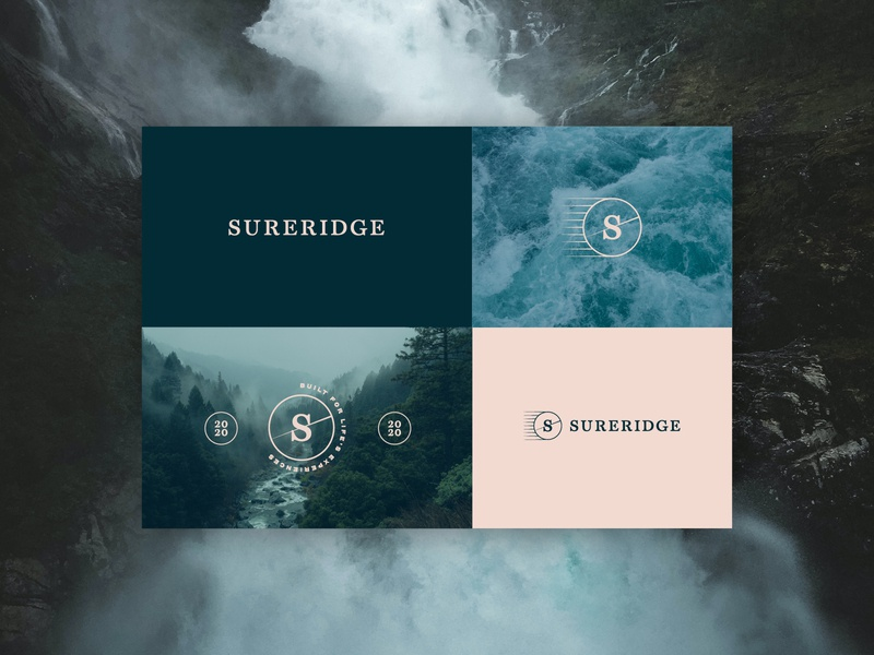 Sureridge Brand Identity pos poster design poster hiking climbing snowboarding surfing adventure outdoor clothing emblem badge crest logo design logo brand identity brand design branding design branding