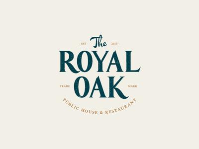 The Royal Oak emblem seal mark stamp crest oak royal restaurant bristol pub lettering custom type