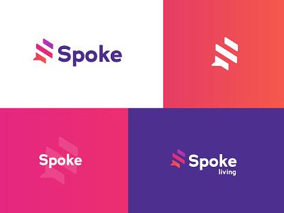 Spoke housing speech bubble modern sans serif naming icon millennials homes modular branding property
