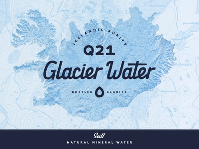 Water Label blue commercial retail drink droplet map label product iceland glacier bottle water