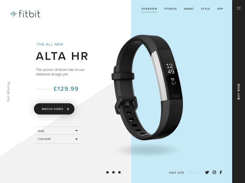 Fitbit Product Card product ecommerce grey blue health fitness shopping watch fitbit ux ui product card