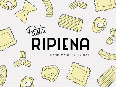 Pasta Ripiena type italian food restaurant grey yellow pasta script art deco custom type typography branding