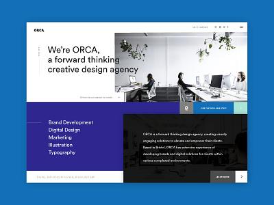 ORCA Homepage colourful blocks graphic design website homepage ux ui bristol orca design studio creative agency