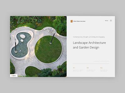 Landscape Architecture Web Layout minimal garden design design architecture landscape homepage website ux ui web