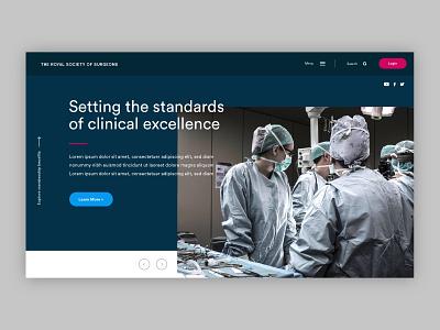 Homepage Header membership site society hospital doctors surgeons ux we banner ui website homepage