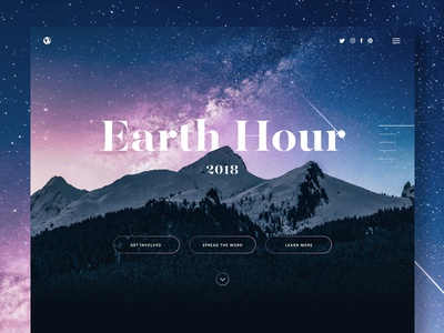 Earth Hour Microsite web lights stars homepage ui mountains one page microsite campaign environmental environment earth