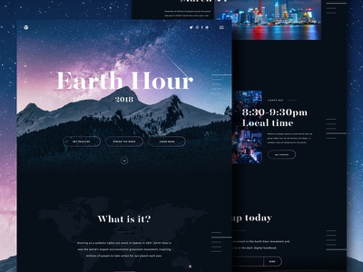 Earth Hour Microsite homepage ui earth hour environment environmental campaign microsite one page globe mountains stars lights