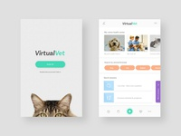 Virtual Vet App concept health icons green digital app design ui dog cat vet pets animals