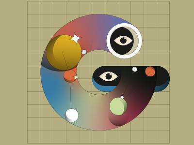 Detail Poster number #021 Letter G circles illustration typography ui branding animation flat motion design 2d