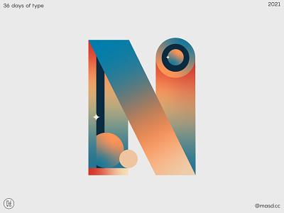 Letter N for 36 days of type flat custom logotype logo custom type lettering vector colours typeface gradient design 2d letters typography